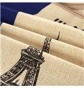 Eiffel Tower Print European Style Cotton & Linen Throw Pillow