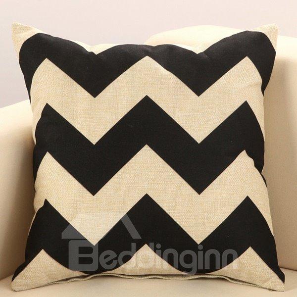 Trendy Black Wave Print European Style Cotton & Linen Throw Pillow