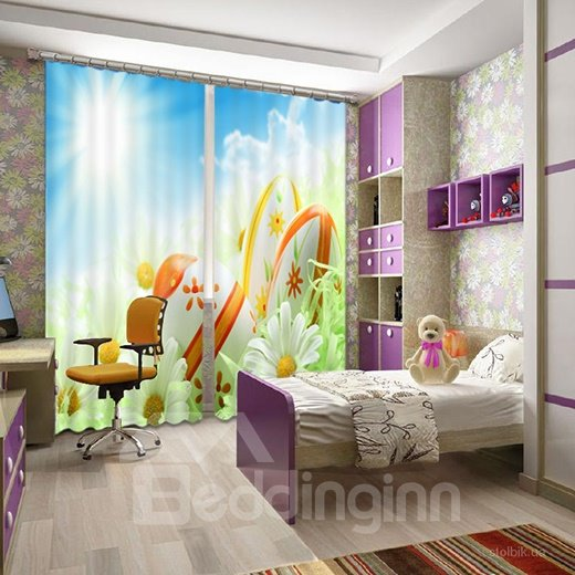 Wonderful 3D Flower Print Light Blocking Curtain