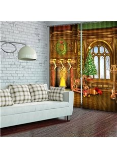 3D Christmas Tree High Quality Blackout Curtain