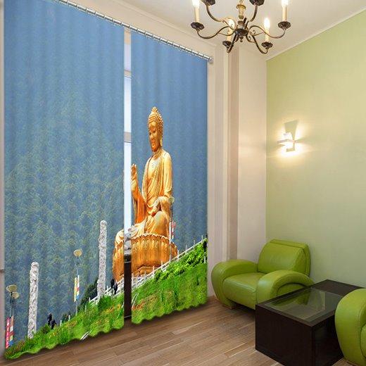 Buddha Statue Print 3D Light Blocking Curtain