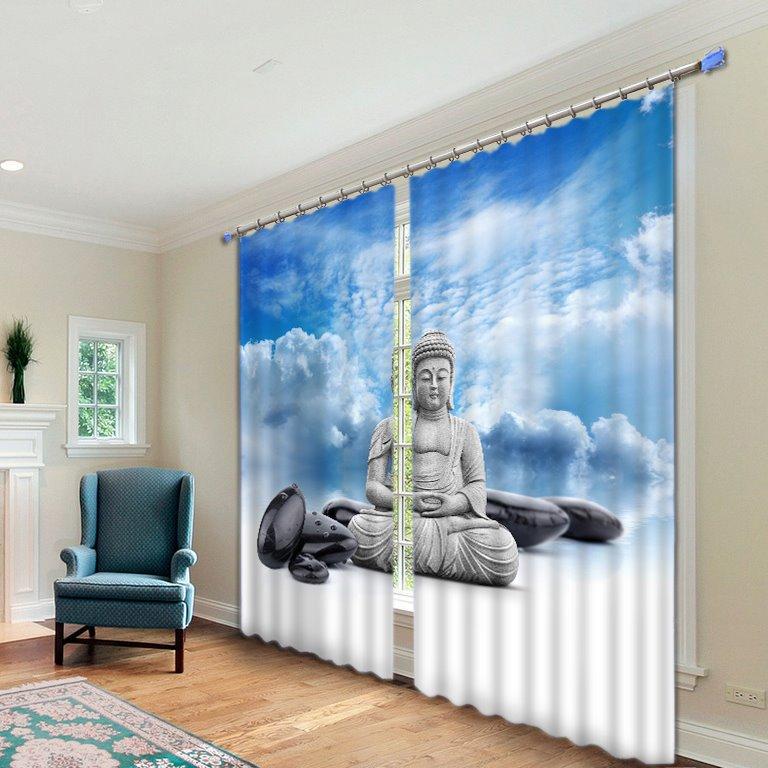 Buddha Statue Print 3D Energy Saving Curtain