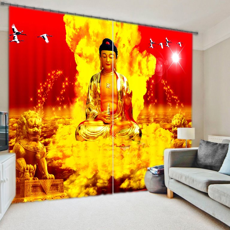 3D Holy Buddha Statue Printing Living Room and Study Room Energy Saving Curtain