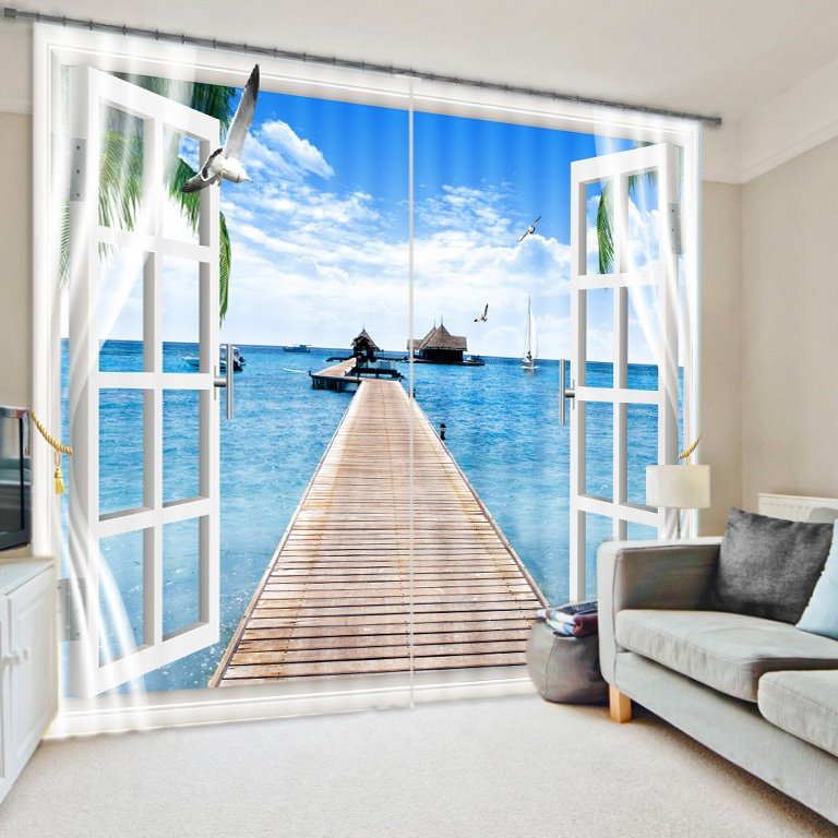 Fascinating Scenery of the Sea out of the Window Printed 3D Curtain