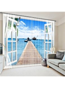Fascinating Scenery of the Sea out of the Window 3D Curtain