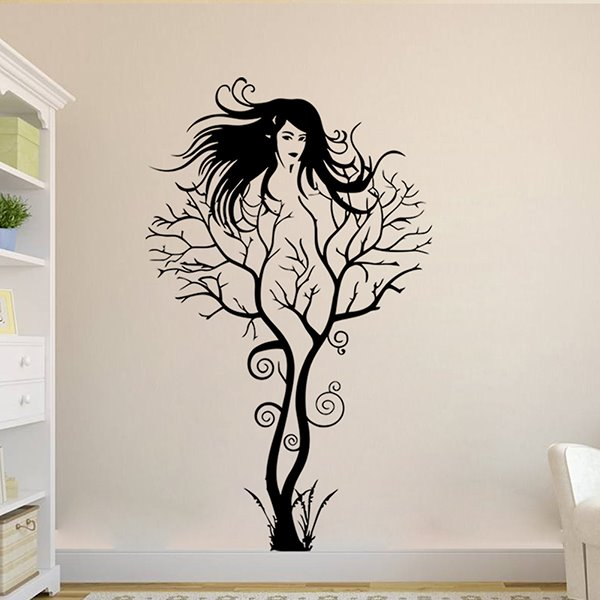 Creative Abstract Branch Women Image Removable Wall Sticker