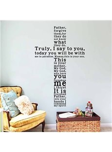 Creative Words and Quotes Cross Shaped Removable Wall Sticker