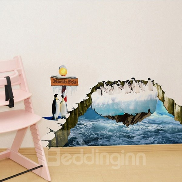 Amazing North Pole Pack of Penguins on Floating Ice 3D Removable Wall Sticker