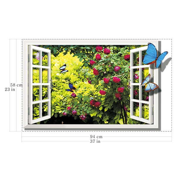 Gorgeous Window View Open to Forest Removable 3D Wall Stickers
