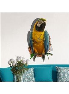 Fabulous 3D Parrot Design Sticker Wall Clock