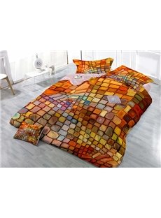 Dazzling Colorful Plaid Design Satin Drill 4-Piece Duvet Cover Sets