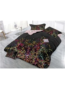 Fashion Black Colorful Polka Dots Printing 4-Piece Duvet Cover Sets