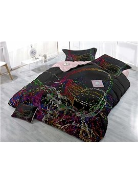 Irregular Colorful Dotted Stripe 4-Piece Black Duvet Cover Sets