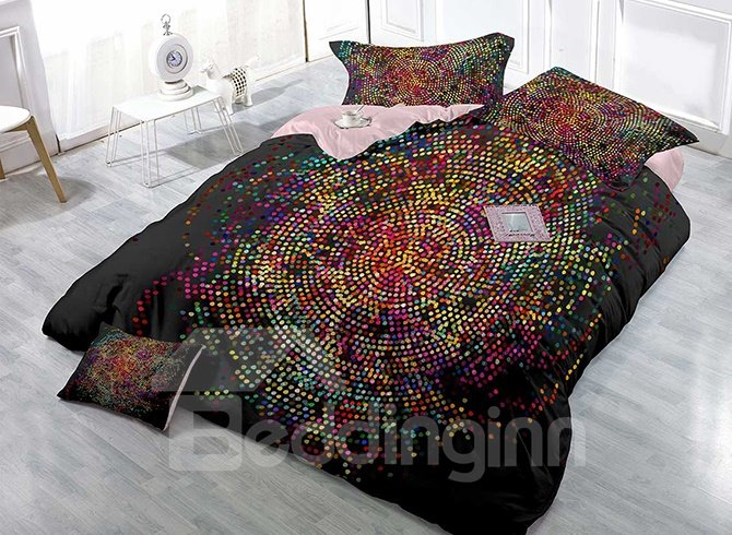 High Density Satin Drill Colorful Dots Print 4-Piece Duvet Cover Sets