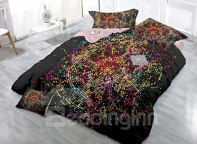 Bright Polka Dots Design High Density Satin Drill 4-Piece Duvet Cover Sets