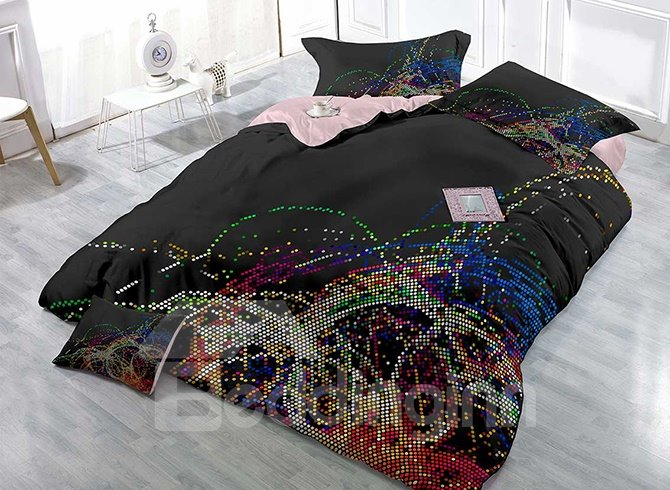 Colorful Polka Dots Satin Drill Black 4-Piece Duvet Cover Sets