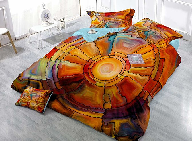 Novelty Abstract Pattern Satin Drill Technics 4-Piece Duvet Cover Sets