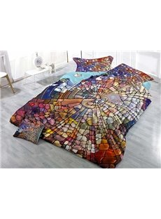 Creative Abstract Colorful Design Satin Drill 4-Piece Duvet Cover Sets