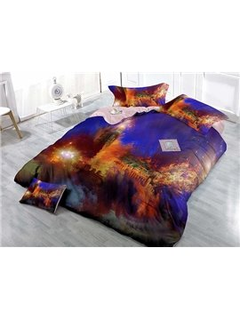 Graceful Blue Scenery Stars Print Satin Drill 4-Piece Duvet Cover Sets