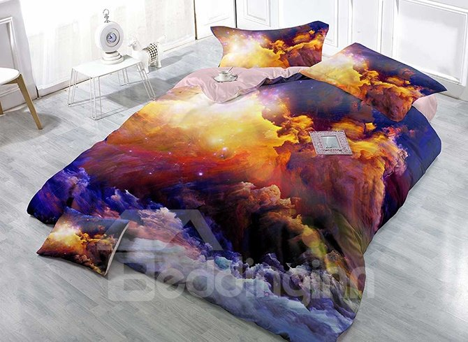 Abstract Colors Design Satin Drill Technics 4-Piece Duvet Cover Sets