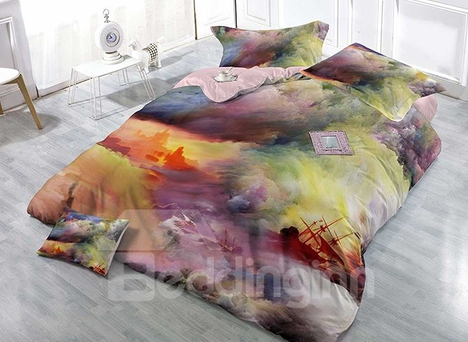 Sea Scenery Digital Printing Satin Drill 4-Piece Duvet Cover Sets