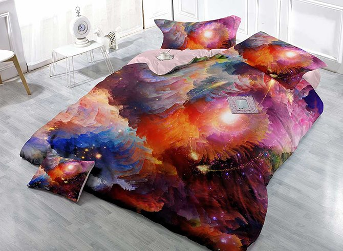 Mysterious Colorful Galaxy Print Satin Drill Technics 4-Piece Duvet Cover Sets