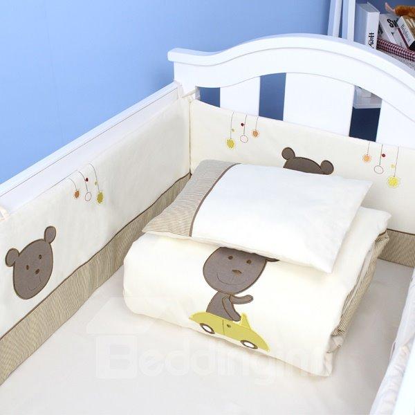 Cute Bear Driving Car Cotton 9-Piece Baby Crib Bedding set