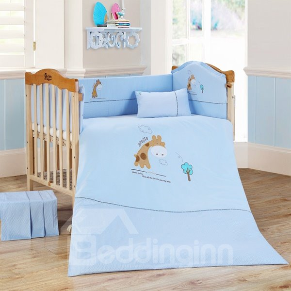 Adorable Blue Giraffe 9 Piece Baby Crib Bedding Set