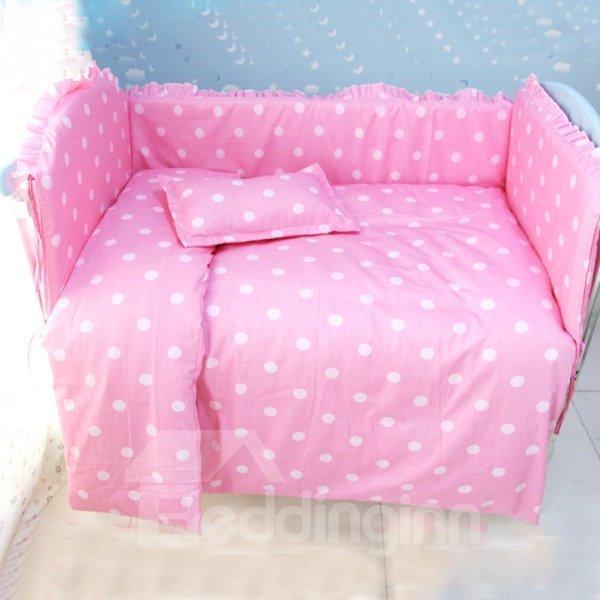 Bouncy Cotton Polka Dot Pattern 9-Piece Baby Crib Bedding set