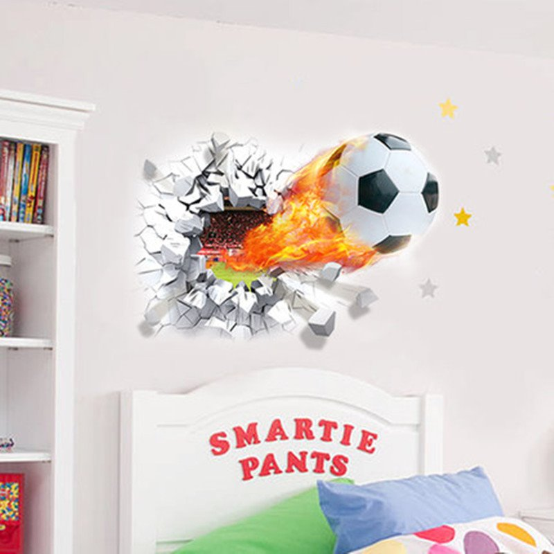 Shocking Football on Fire Through Walls Removable Wall Sticker