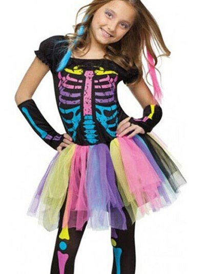 Rainbow Color Skeleton Print Girl