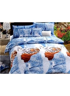 Crouched Tigers Print Blue 4-Piece Cotton Duvet Cover Sets