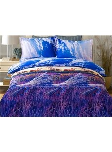 Purple Lavender Print 4-Piece Duvet Cover Sets