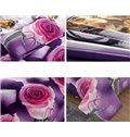 Roses Print Noble Purple 4-Piece Duvet Cover Sets