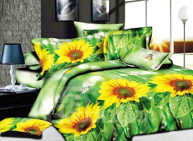 Fresh Sunflowers Butterflies Print Green 4-Piece Duvet Cover Sets