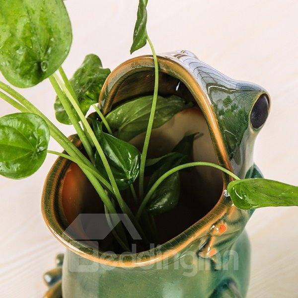 Creative Ceramic Frog Design Pen Holder Flower Vase Desktop Decoration