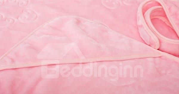 Pink Soft Cloud Pattern Flannel Baby Blanket