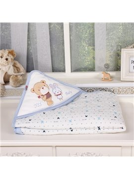 Pure Cotton Bear and Rabbit Friendship Theme Baby Blanket