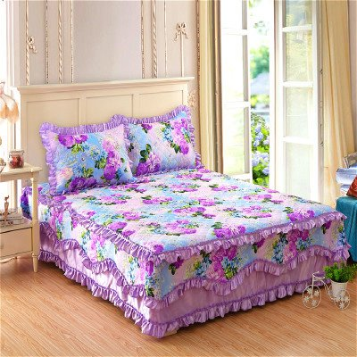 Flowers Design Princess Style Cotton Bed Skirt