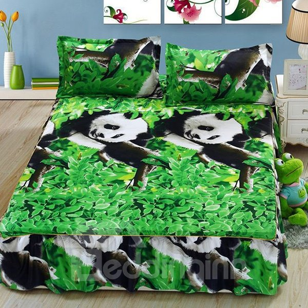 Cute Pandas on Tree Print Cotton Bed Skirt