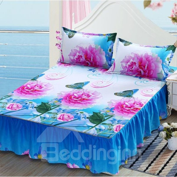 Fancy Pink Rose Printing Blue Cotton Bed Skirt