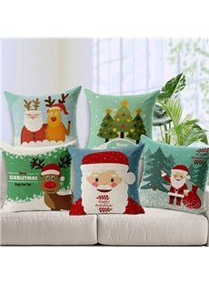 Lovely Santa Claus Christmas Tree Elk Print Cotton Linen Throw Pillow for Christmas