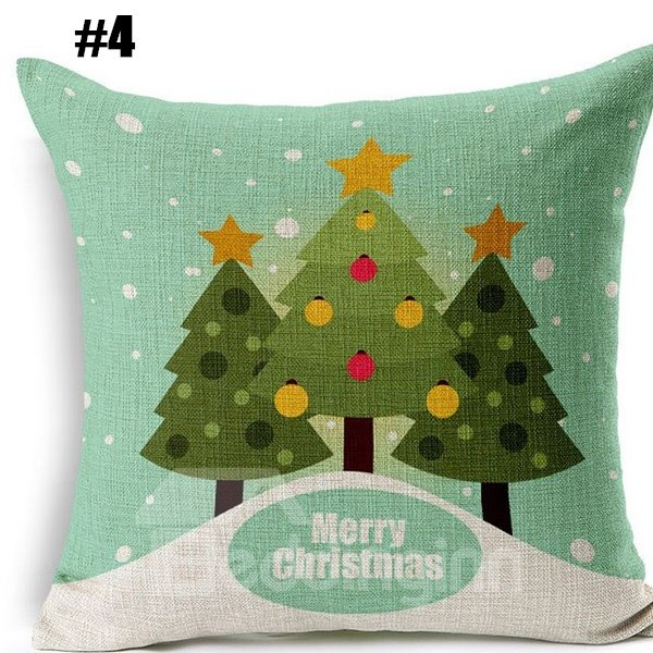 Lovely Santa Claus Christmas Tree Elk Print Cotton Linen Throw Pillow for Christmas