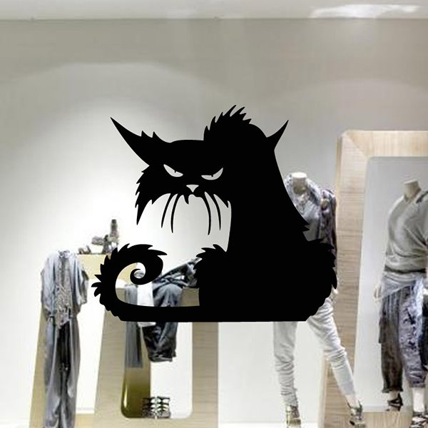 Halloween Festival Decoration Black Cat Removable Wall Sticker