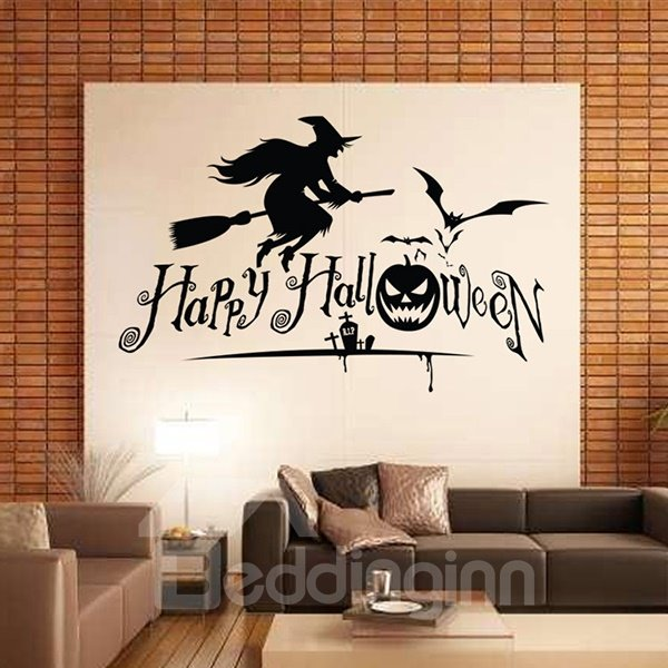 Halloween Festival Decoration Happy Halloween Flying Witch Removable Wall Sticker
