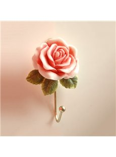 Decorative Resin Rose Design 1-Hook Wall Hook