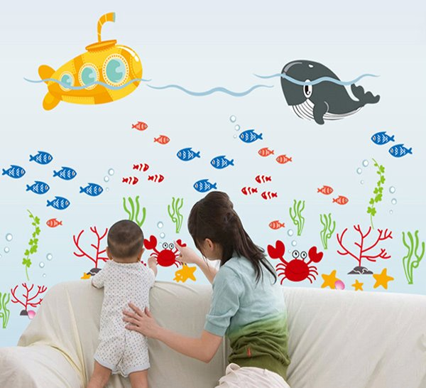 Bathroom Nursery Shower Room Sea World Removable Wall Sticker