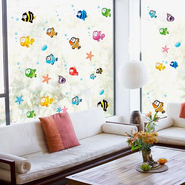 Bathroom Nursery Shower Room Bubble Fish Removable Wall Sticker