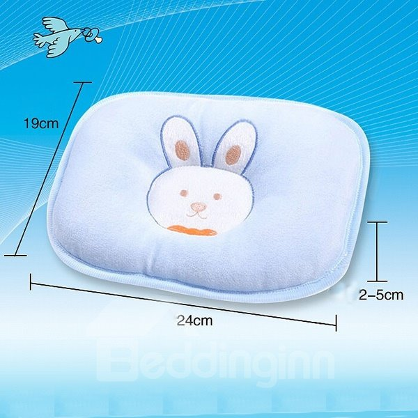 Prevent Flat Head Rabbit Embroidered Cotton Pure Color Baby Pillow