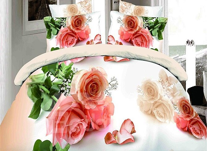 Pink Roses and Petals Print 4-Piece Duvet Cover Sets